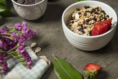 Granola. Bars served with fruits chocolate stock image