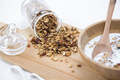 Granola. Bars served with fruits ,chocolate and milk royalty free stock image