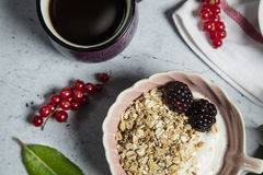 Granola. Bars served with fruits coffee royalty free stock photos