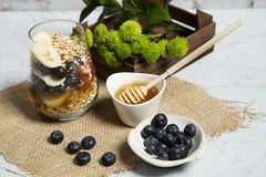 Granola. Bars served with fruits honey royalty free stock photography