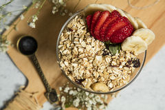 Granola. Bars served with fruits and milk royalty free stock photography