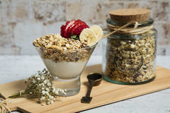 Granola. Bars served with fruits and milk stock photography