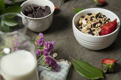 Granola. Bars served with fruits ,milk and chocolate stock images