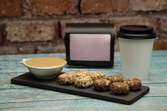 Granola. Bars served hazelnut souce and coffee stock images