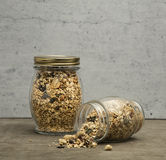Granola. Bars served in the jar royalty free stock photos