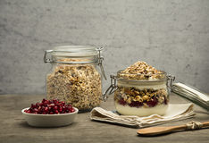 Granola. Bars served in the jar with fruits and yogurt stock image