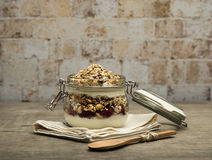 Granola. Bars served in the jar with yogurt and fruits stock images