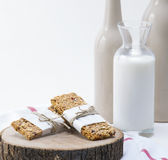 Granola. Bars served with milk stock photos