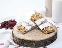 Granola. Bars served with milk and fruits stock photo