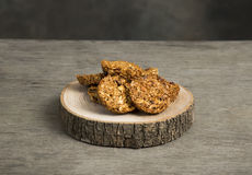 Granola. Bars served on wooden plate royalty free stock photo