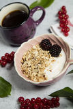 Granola. Bars served with yogurt and coffee royalty free stock photography