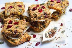 Granola Bars, Superfood Homemade Snack, Healthy Bars with Cranberry, Pumpkin Seed, Oats, Chia and Flax Seed stock images