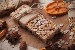 Granola bars on wooden table Royalty Free Stock Photo