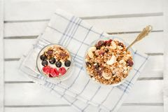 Granola with berries and cashews. Top view. Traditional American Breakfast Royalty Free Stock Images