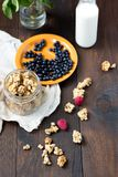 Granola with berries. Granola with milk berries and nuts Royalty Free Stock Photo