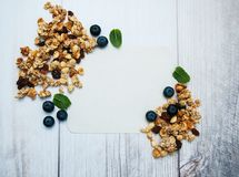 Granola and blank recipe paper Royalty Free Stock Images