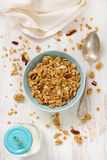 Granola in blue bowl Royalty Free Stock Photo