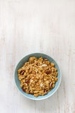 Granola in blue bowl Stock Photo
