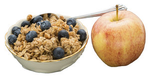 Granola blueberries apple spoon healthy concept Stock Photo