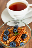 Granola with blueberry and cinnamon Stock Photos
