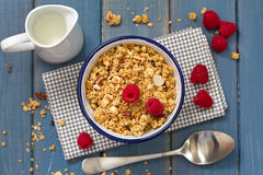Granola in bowl, spoon Stock Images