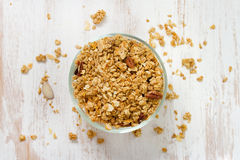 Granola in bowl on white background Stock Images