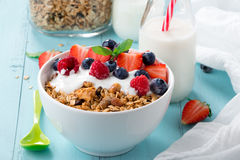 Granola breakfast with berries stock photography