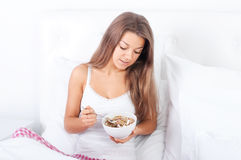 Granola breakfast cereal. Bedtime collection: granola breakfast cereal Royalty Free Stock Photos