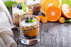 Granola breakfast parfait with citrus. Compote and blueberries Royalty Free Stock Images