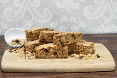 Granola Brownies, healthy and homemade.  Copy space. Royalty Free Stock Photos