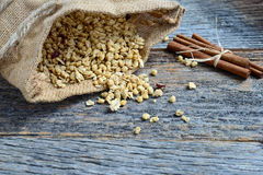 Granola in Burlap Sack Spilling onto Wood Background Stock Photography