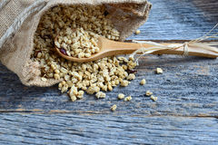 Granola in Burlap Sack Spilling onto Wood Background Royalty Free Stock Image