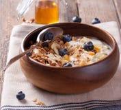 Granola casalingo con i dadi, le arance candite, i mirtilli freschi, il yogurt ed il miele immagini stock libere da diritti