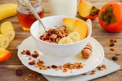 Granola caseiro com porcas e os arandos secados imagem de stock