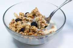 Granola cereal in bowl Stock Photo