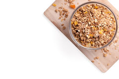 Granola cereal with dried fruits in bowl Royalty Free Stock Image