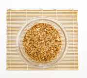 Granola cereal isolated on white backgroung. Granola cereal with dried frutis and nuts in a bowl isolated on white backgroung Royalty Free Stock Photo