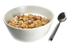 Granola Cereal with Milk Royalty Free Stock Photography
