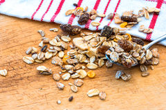 Granola cereal with raisins and nuts Royalty Free Stock Photo