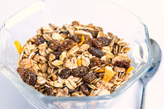 Granola cereal with raisins and nuts Stock Photo