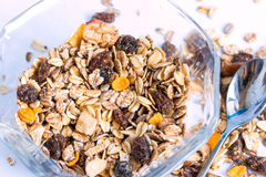 Granola cereal with raisins and nuts Stock Photos