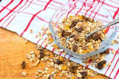Granola cereal with raisins and nuts Royalty Free Stock Image