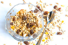 Granola cereal with raisins and nuts Royalty Free Stock Photos