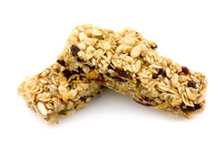 Granola chewy bar. Whole grain granola chewy bar isolated on white Stock Photos