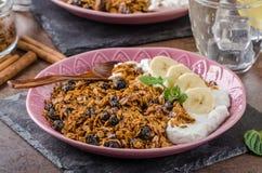 Granola cocido en horno con las nueces Imagen de archivo