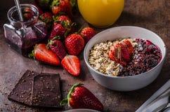 Granola com bagas e chocolate Fotografia de Stock