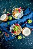 Granola com o iogurte das sementes do chia, fruto fresco e bagas fotografia de stock royalty free