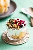 Granola con el yougurt y el cantalupo griegos fotografía de archivo libre de regalías