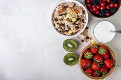 Granola con i frutti ed i semi Prima colazione sana Fotografia Stock Libera da Diritti