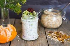 Granola con yogurt ed il kiwi Fotografia Stock Libera da Diritti